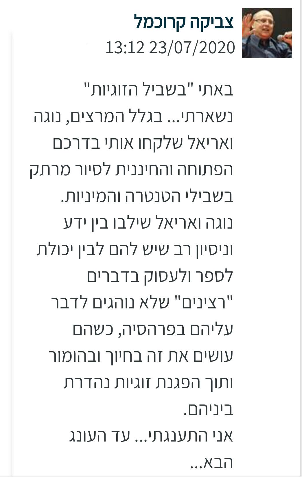 המלצה על נוגה ואריאל טמיר מאת צביקה קרוכמל
